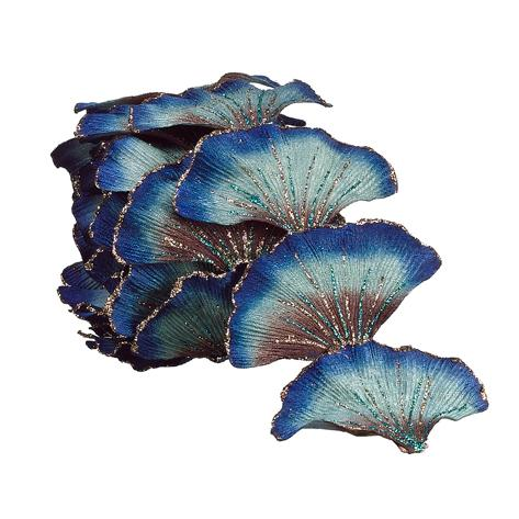 8.5&#8242; Regal Peacock Glittering Artificial Ginkgo Leaf Christmas Garland